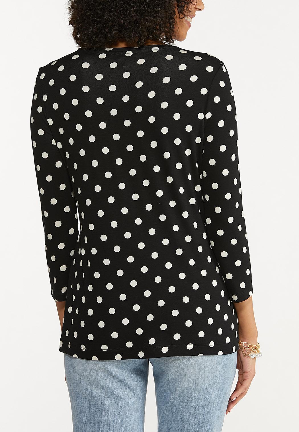 Plus Size Contrast Polka Dot Top (Item #44690853)