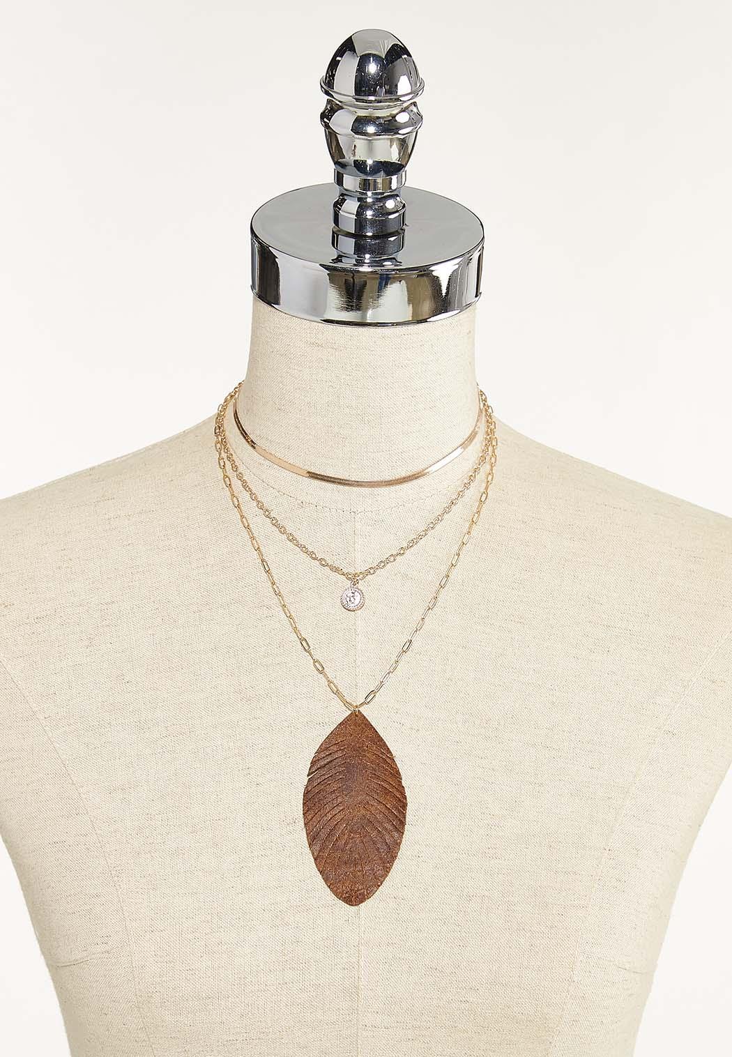 Layered Leaf Pendant Necklace (Item #44691431)