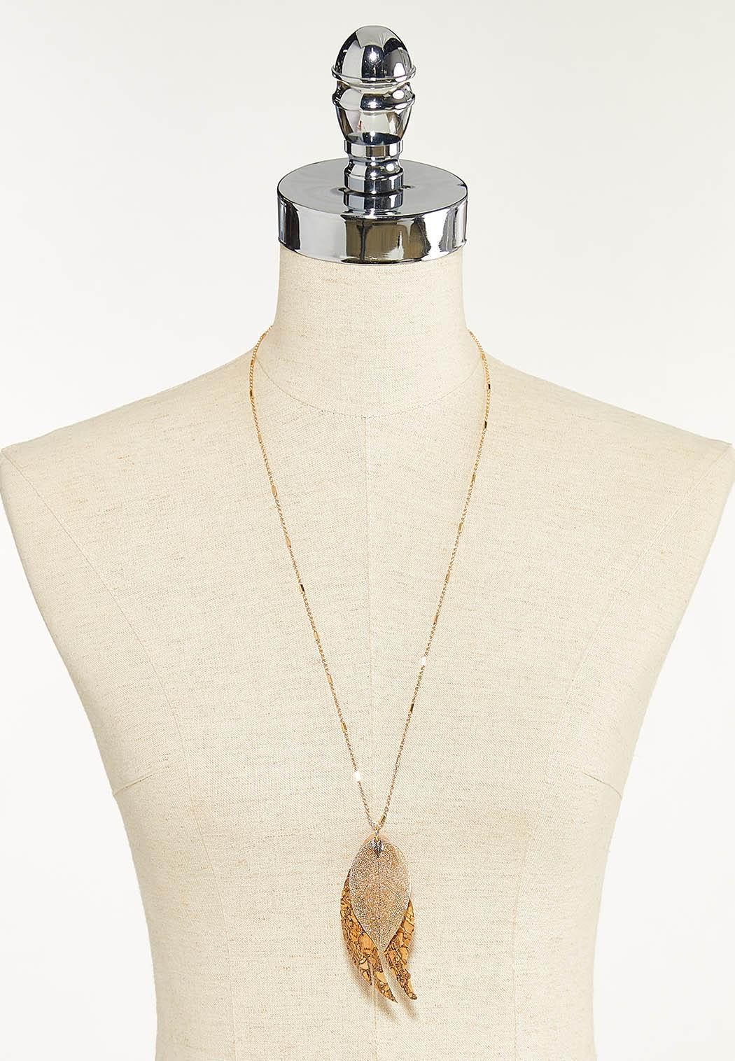 Long Layered Leaf Necklace (Item #44691433)