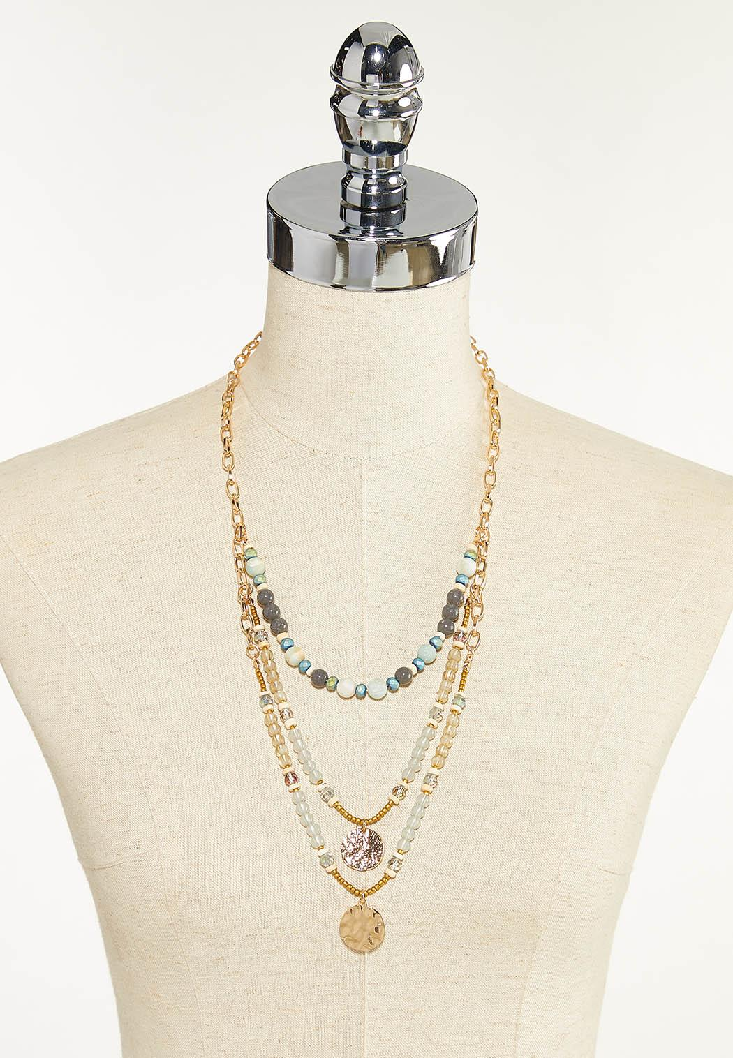 Layered Stone Disc Necklace (Item #44691442)