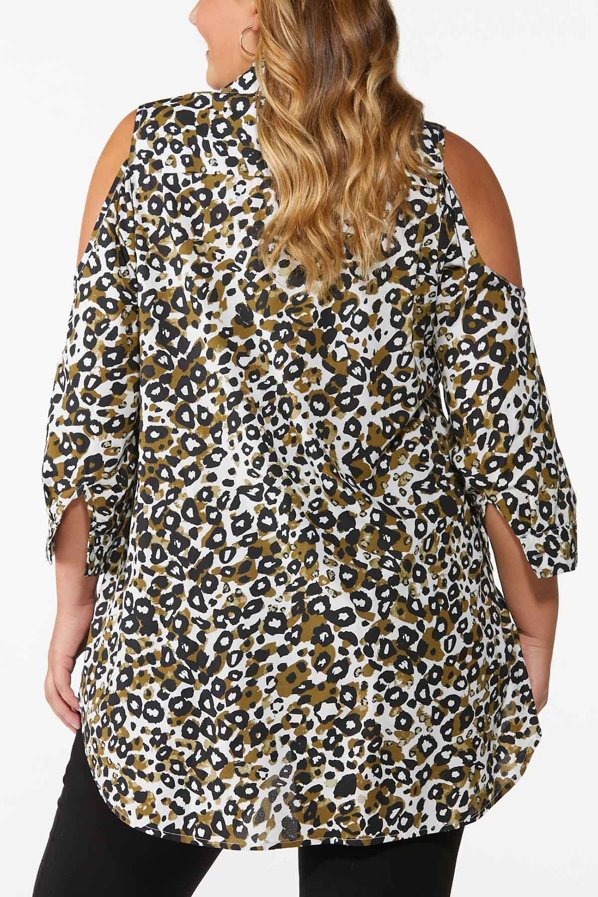 Plus Size Cold Shoulder Leopard Shirt (Item #44692026)