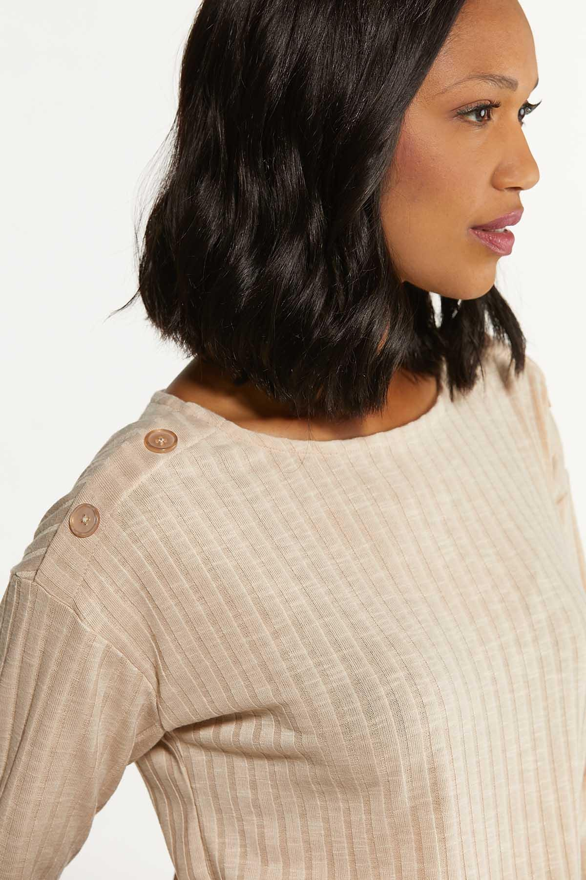 Plus Size Oatmeal Ribbed Top (Item #44692032)
