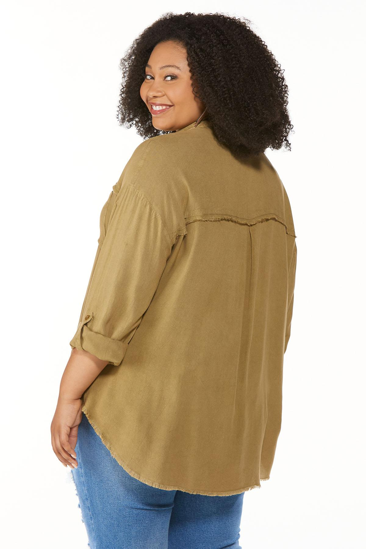 Plus Size Frayed High-Low Tunic (Item #44692104)