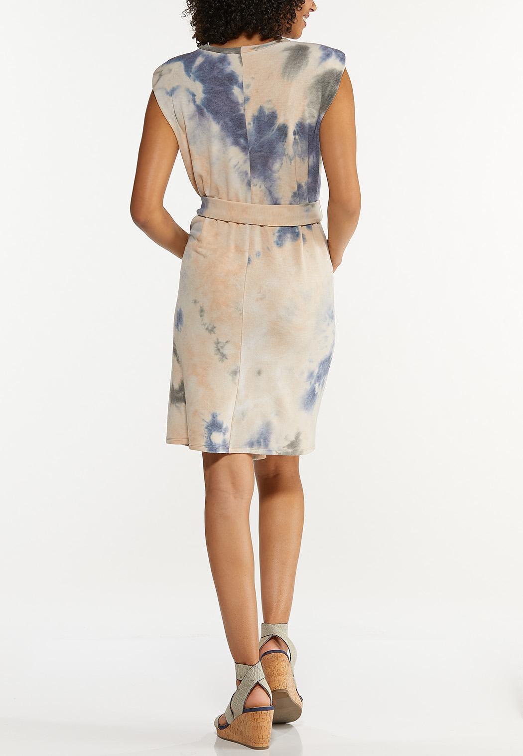 Padded Shoulder Tie Dye Dress (Item #44692812)