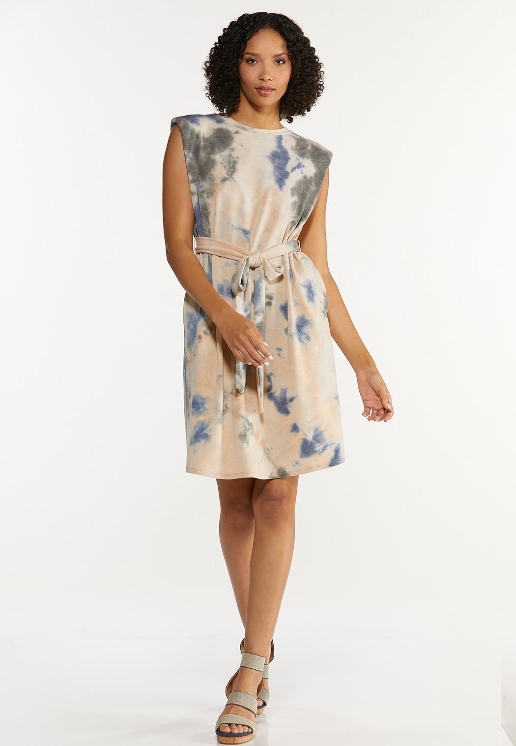 Plus Size Padded Shoulder Tie Dye Dress (Item #44692839)