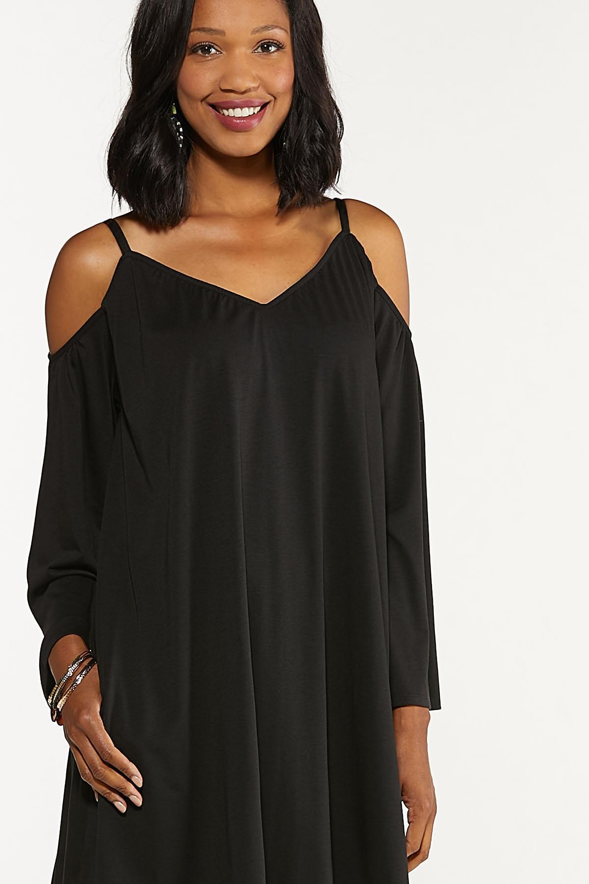 Plus Size Cold Shoulder Swing Dress (Item #44692871)