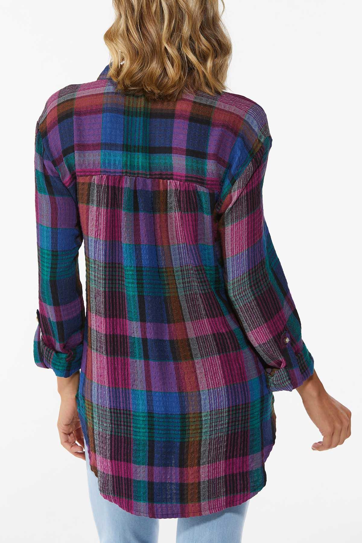 Plus Size Fall Berry Plaid Tunic (Item #44692964)