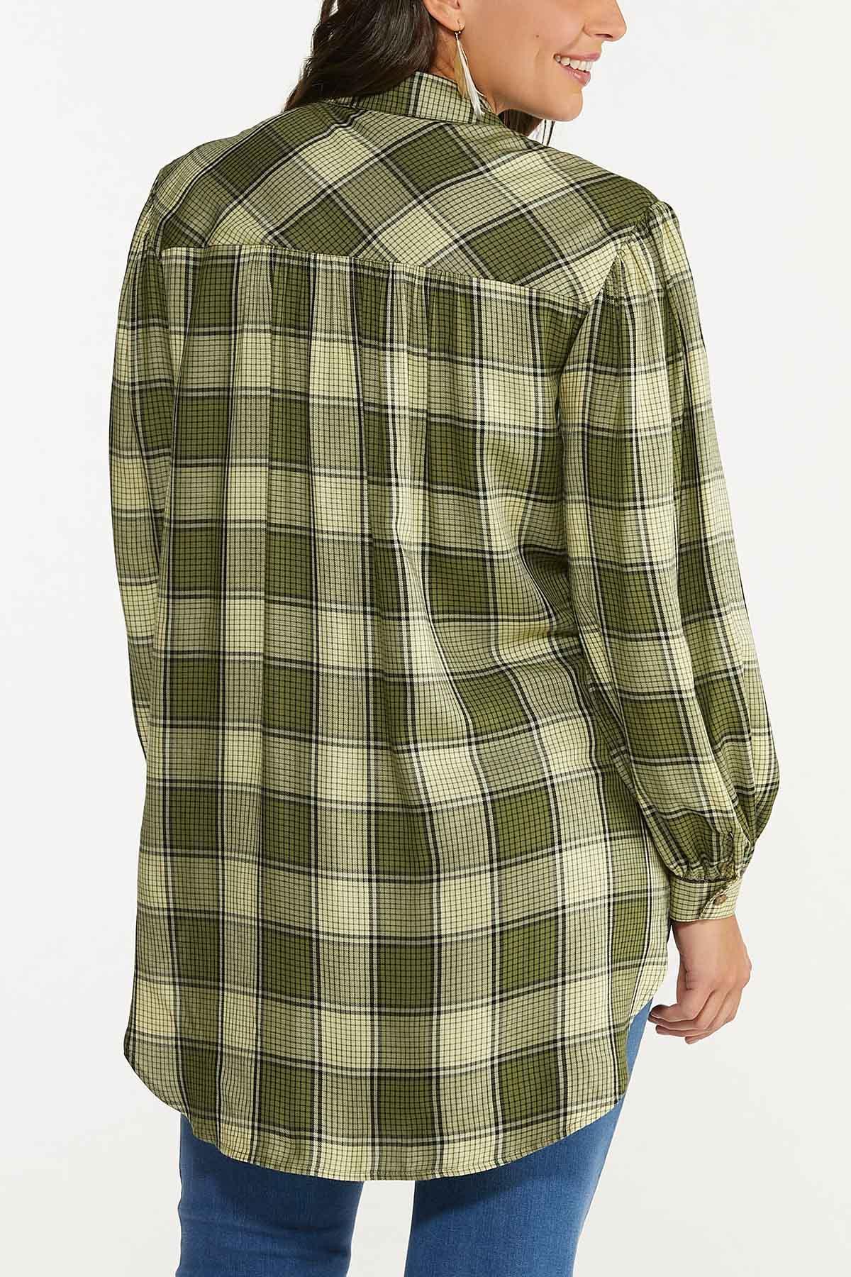 Plus Size Plaid Fringe Tunic (Item #44693051)