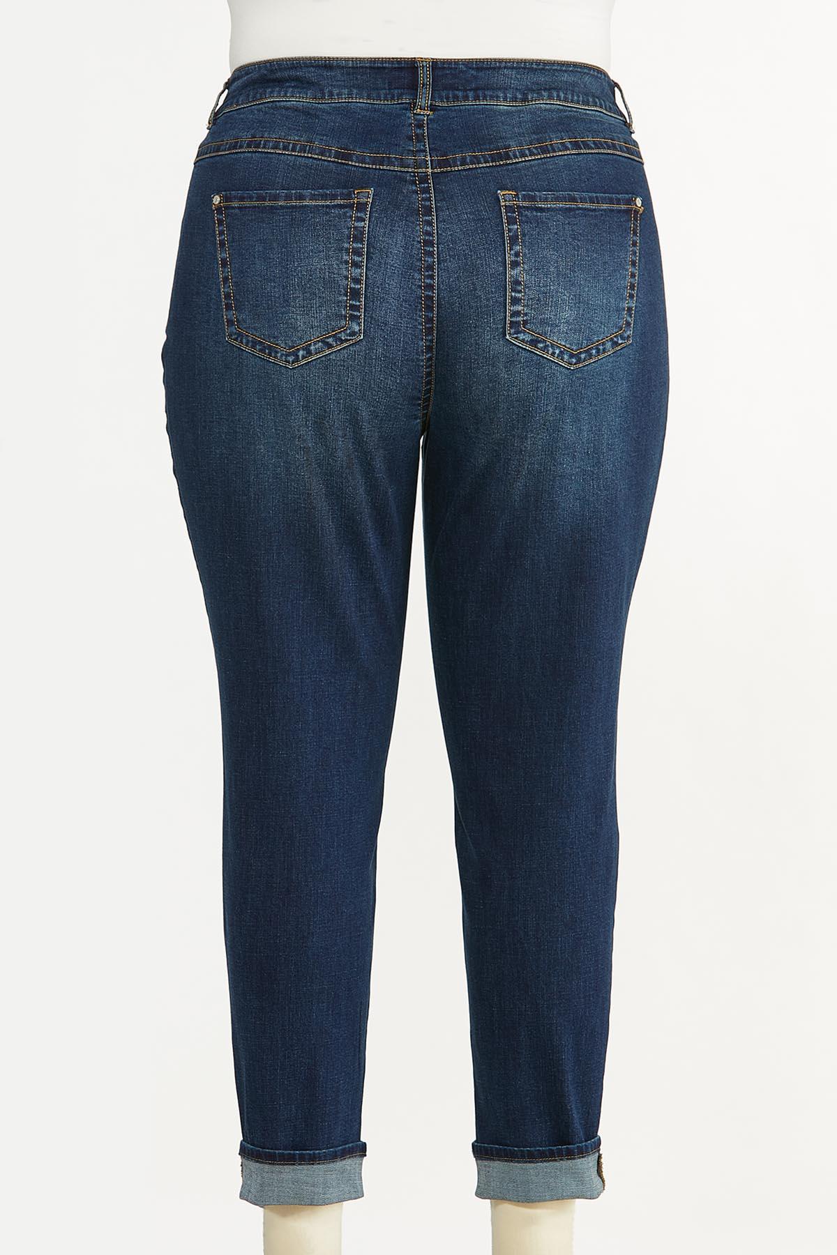 Plus Size Distressed Leopard Patch Jeans (Item #44695496)