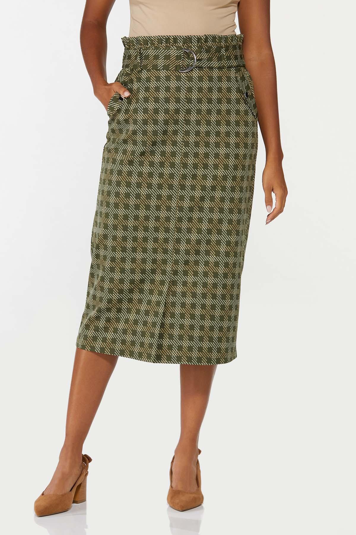 Plus Size Ruffled Plaid Pencil Skirt (Item #44697061)