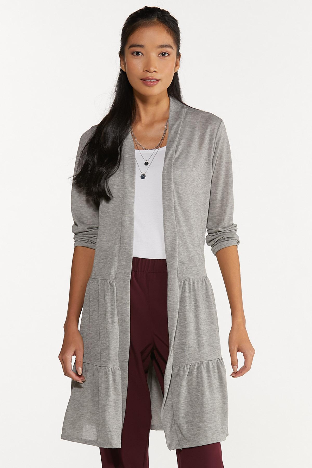 Plus Size Gray Tiered Cardigan (Item #44697293)