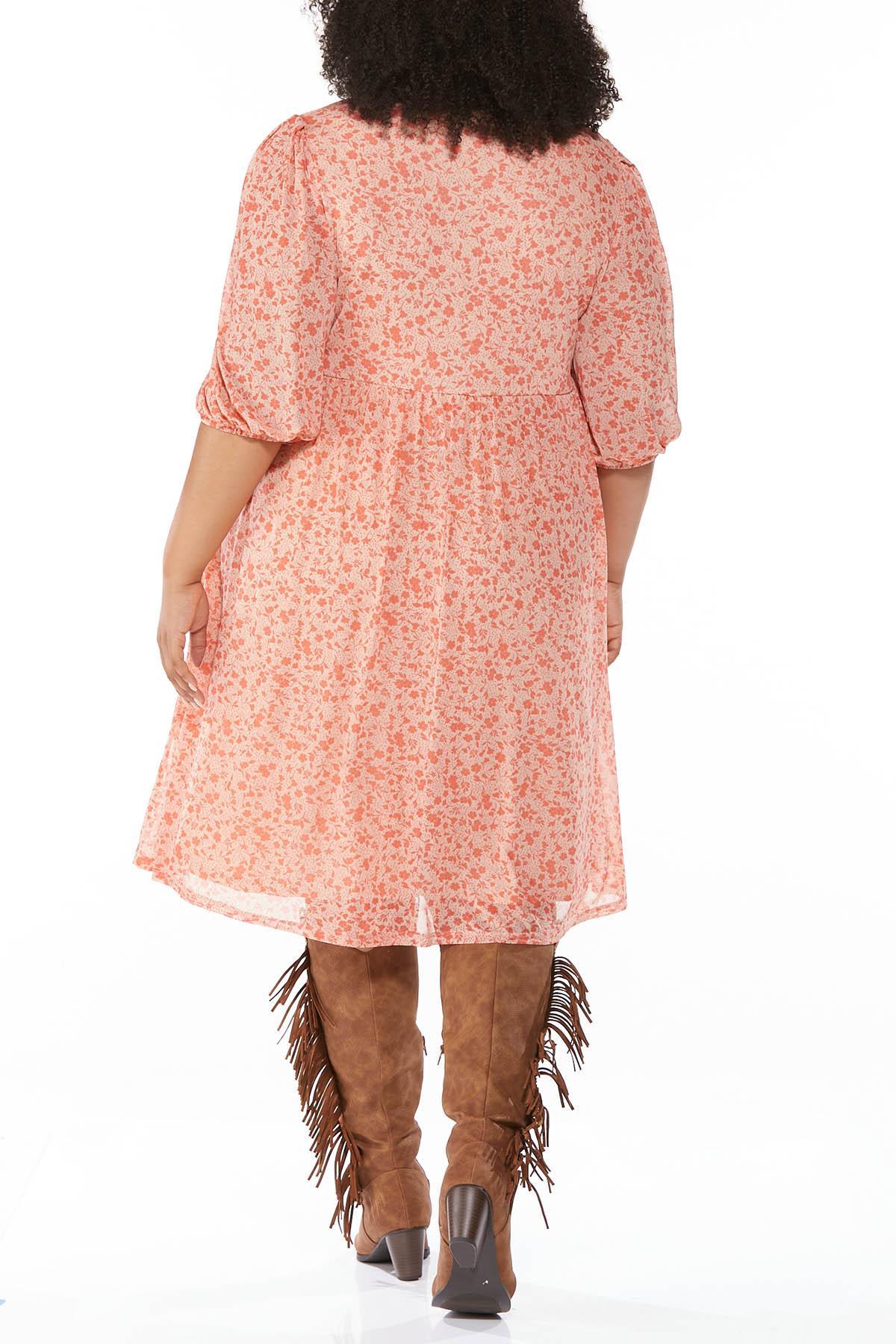 Plus Size Floral Mesh Babydoll Dress (Item #44697763)