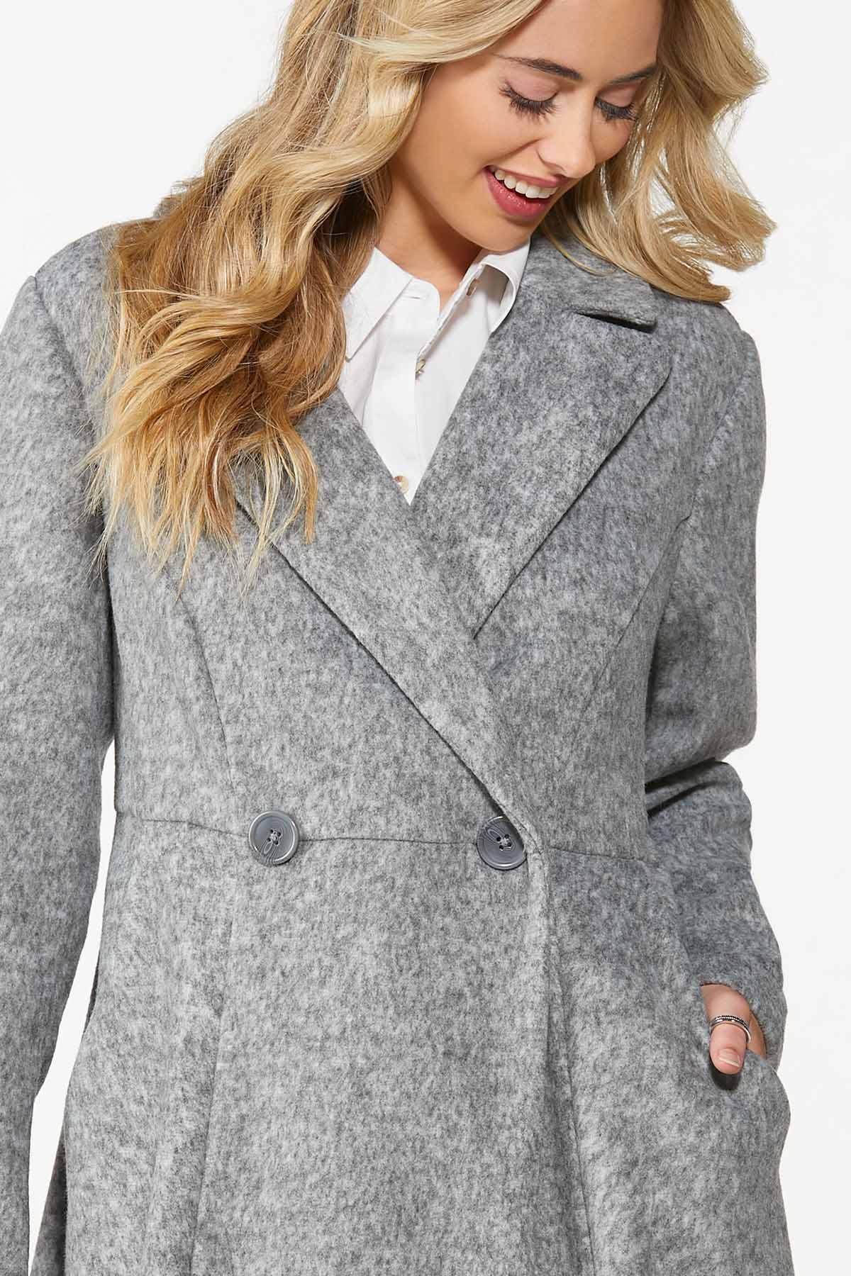 Plus Size Double Button Long Coat (Item #44698125)