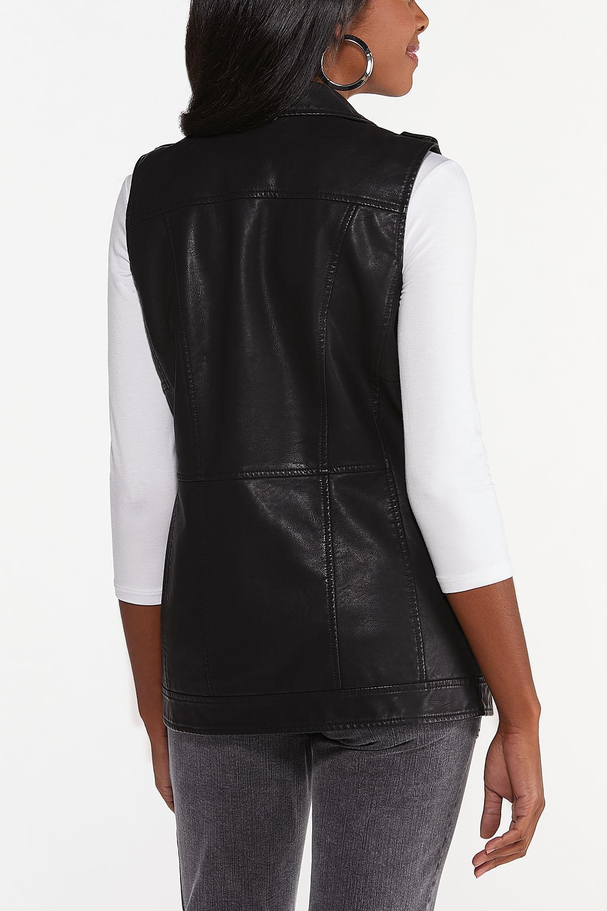 Plus Size Faux Leather Vest (Item #44698309)