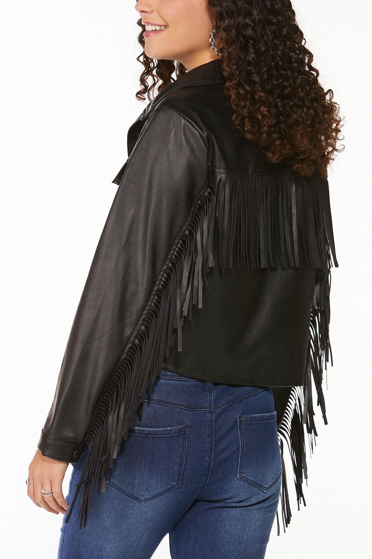 Fringe Faux Leather Jacket (Item #44698490)
