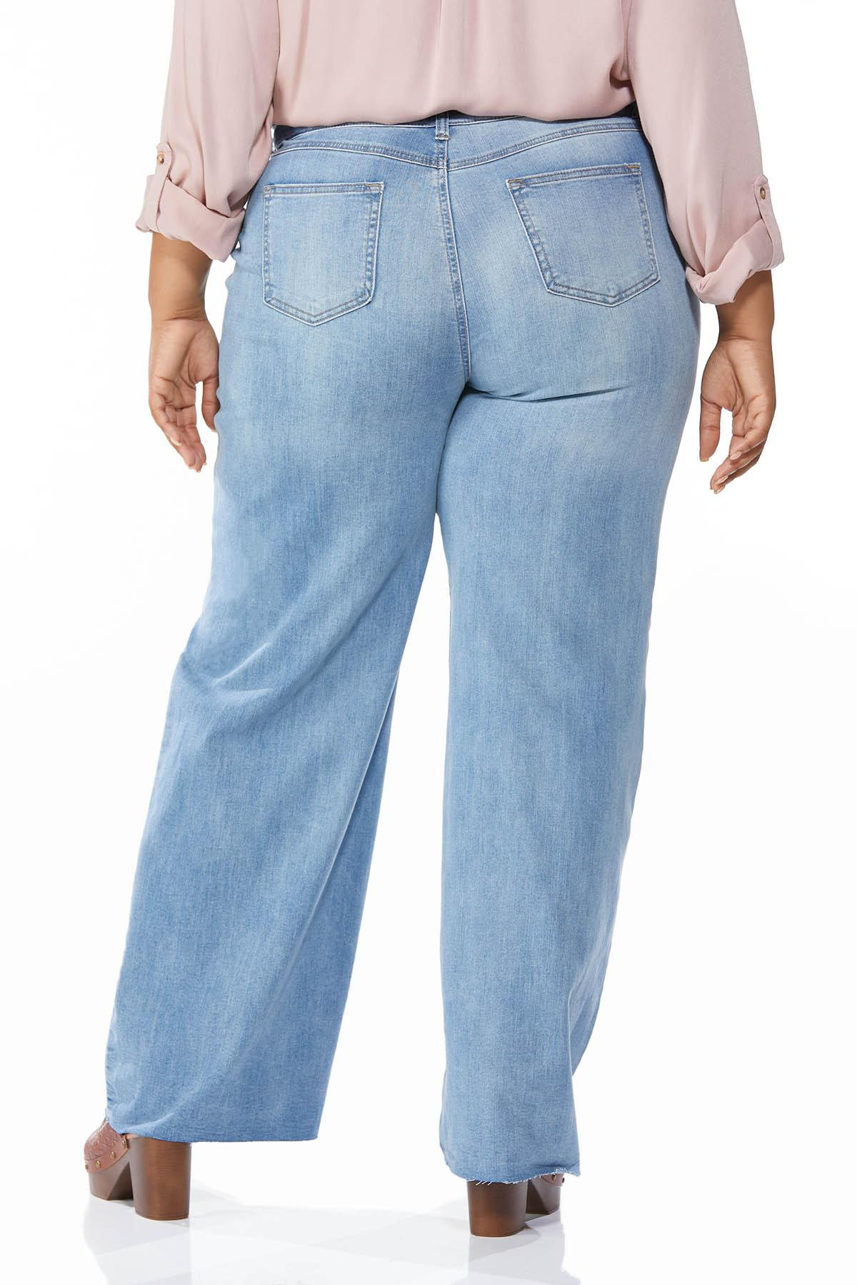 Plus Size Distressed Wide Leg Jeans (Item #44698671)