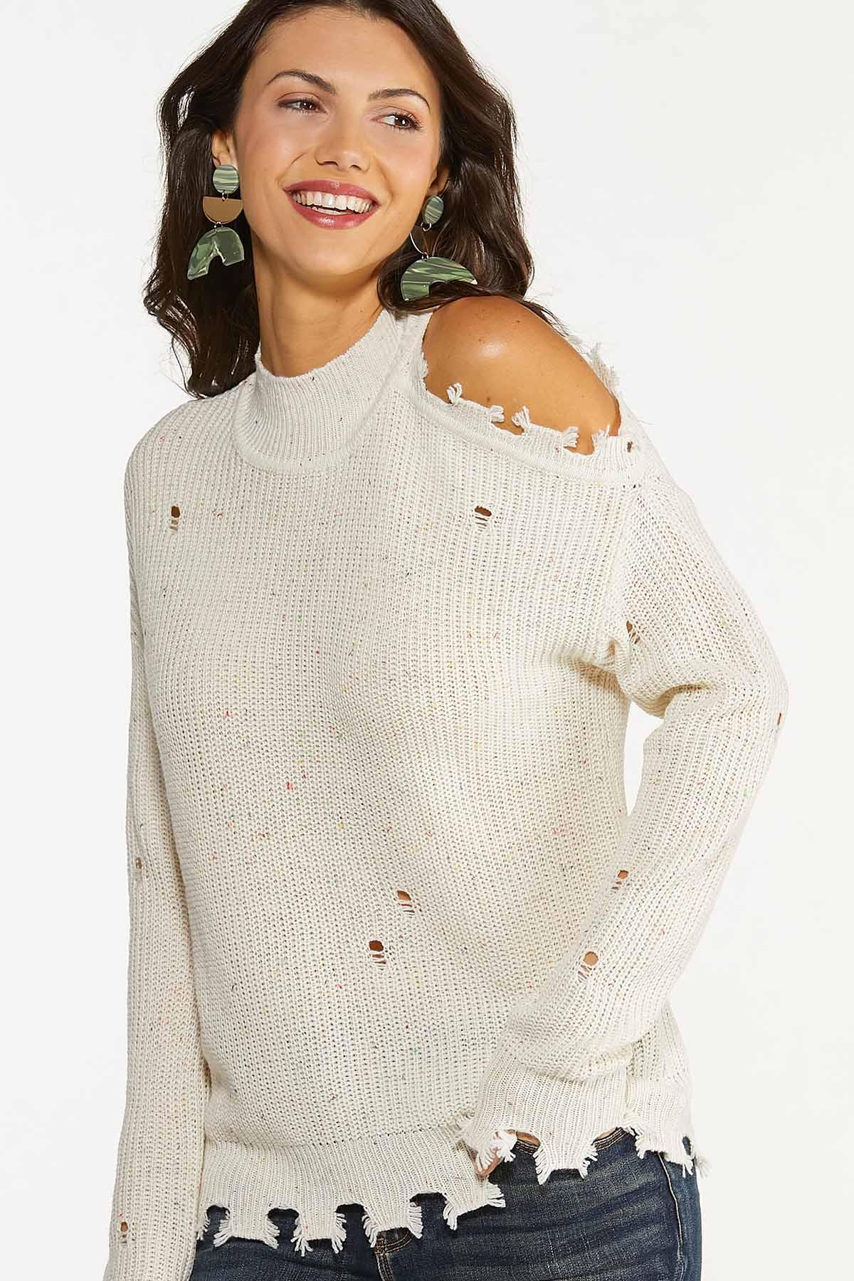 Plus Size Distressed Cold Shoulder Sweater (Item #44699904)