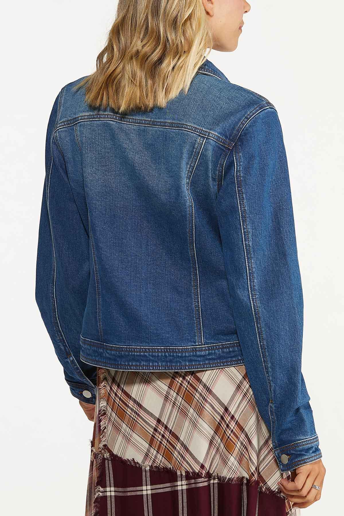 Plus Size Distressed Denim Jacket (Item #44700031)