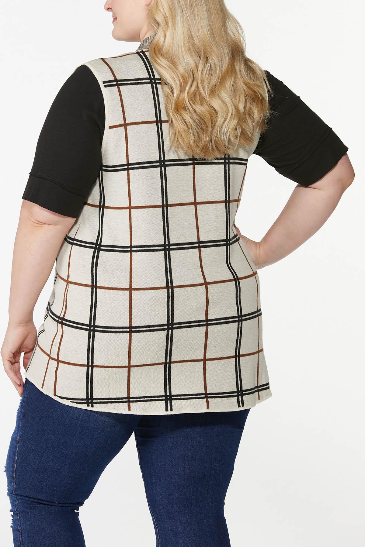 Plus Size Jacquard Plaid Vest (Item #44700279)