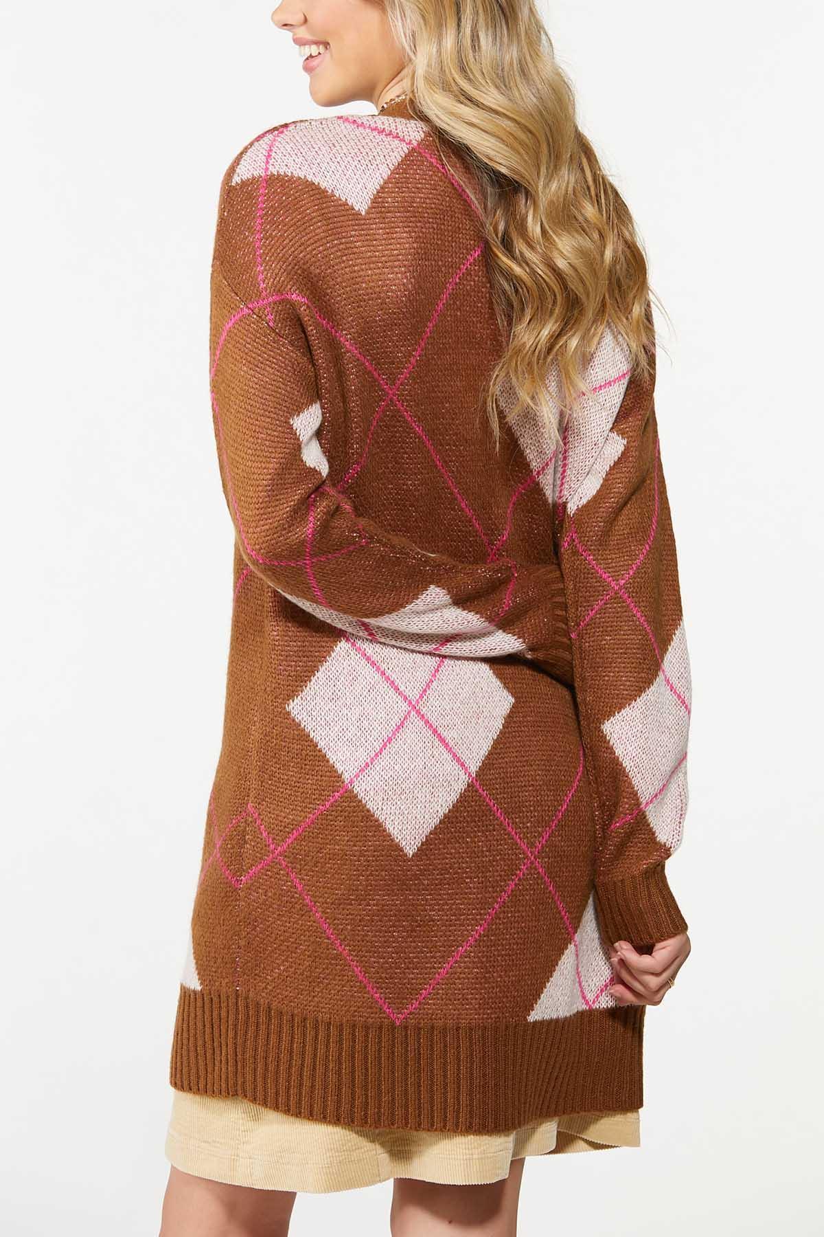 Plus Size Hint Of Pink Argyle Cardigan (Item #44700321)