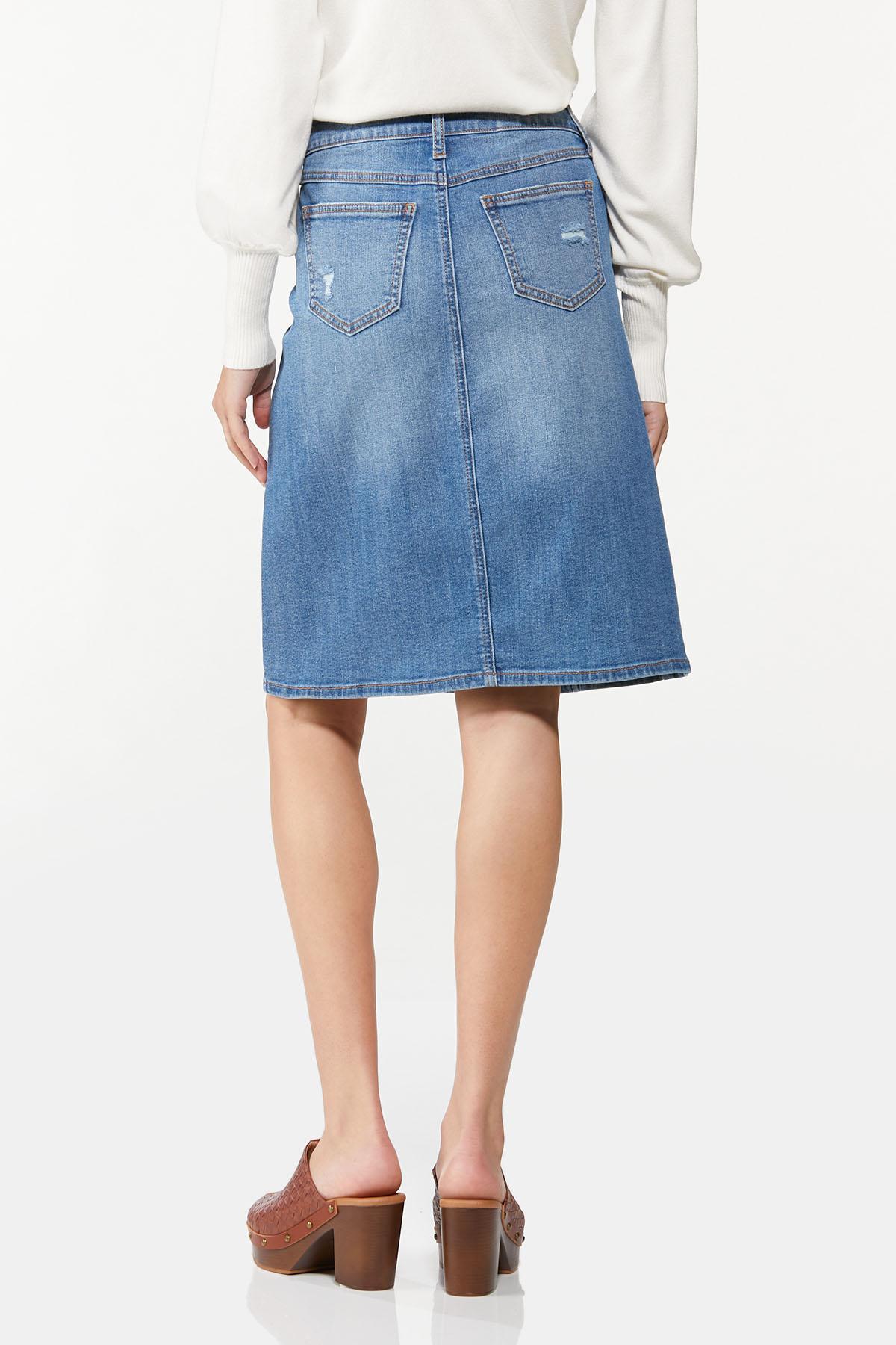 Button Front Denim Skirt (Item #44701558)