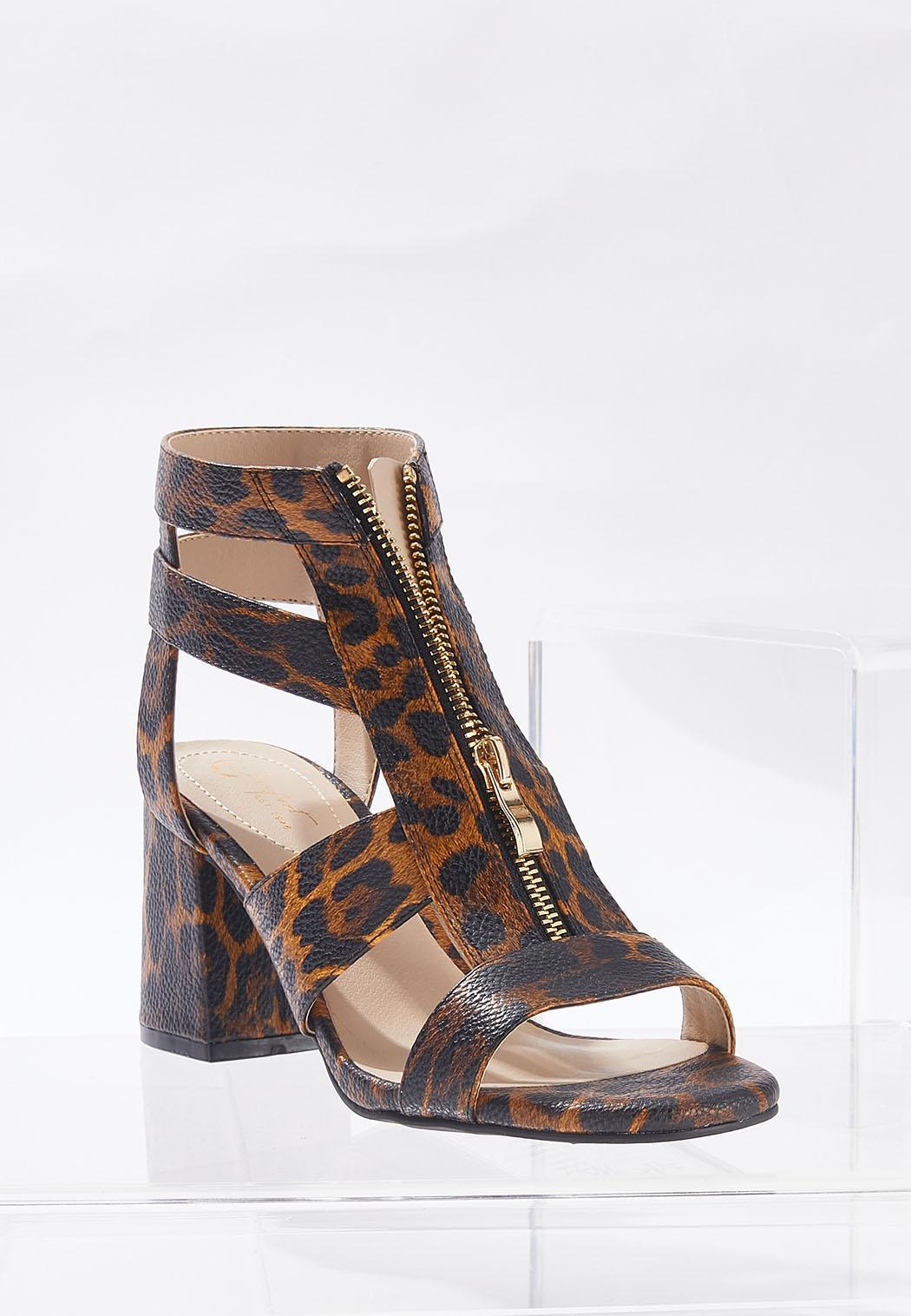 Leopard T-Strap Heeled Sandals (Item #44702251)
