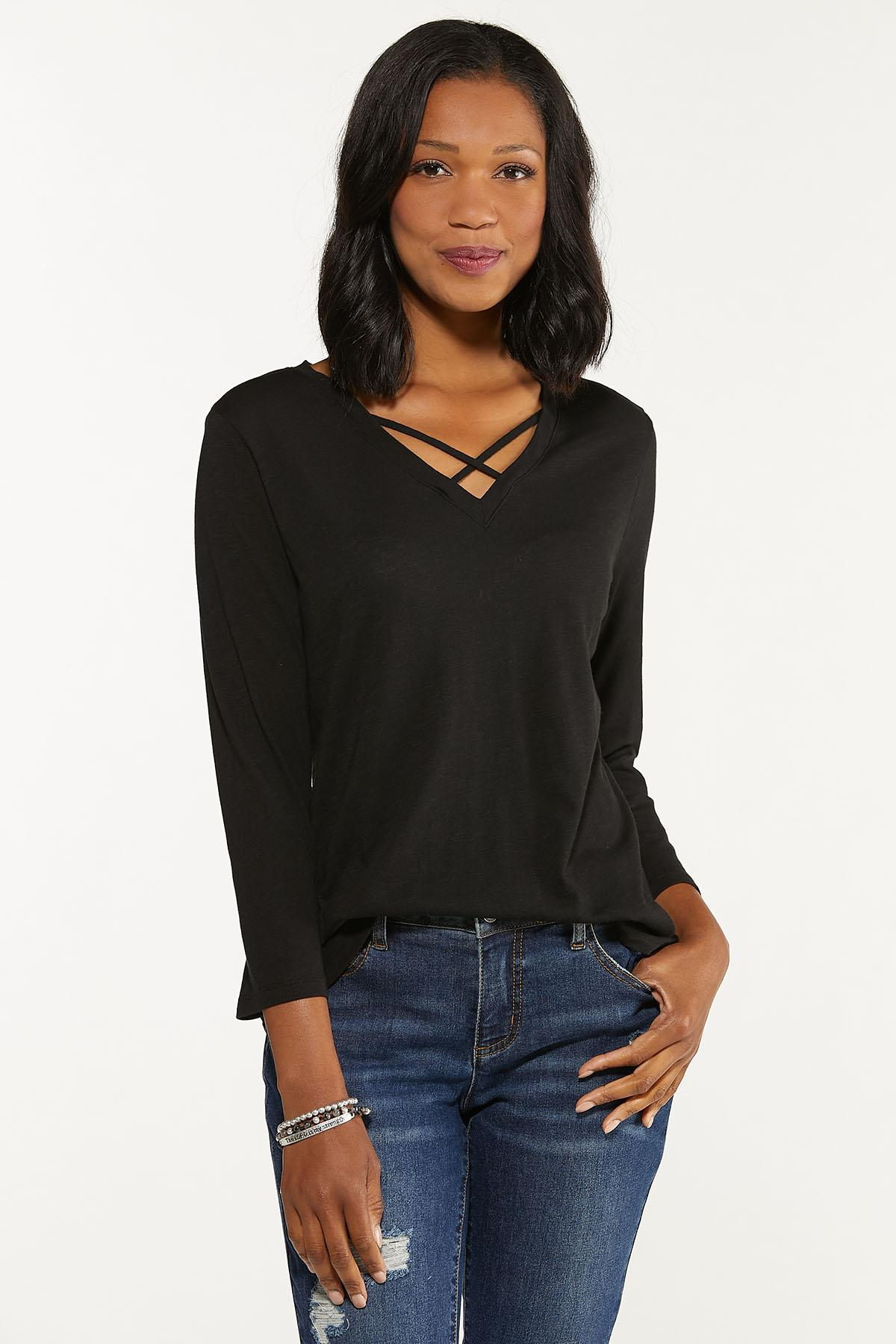 Plus Size Criss Cross Tunic (Item #44702517)
