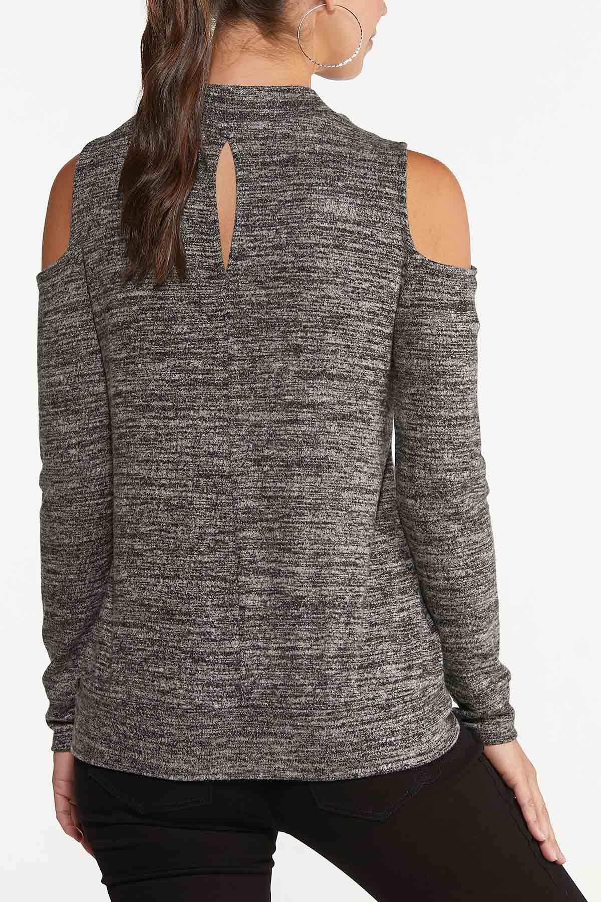 Plus Size Marled Cold Shoulder Top (Item #44702542)