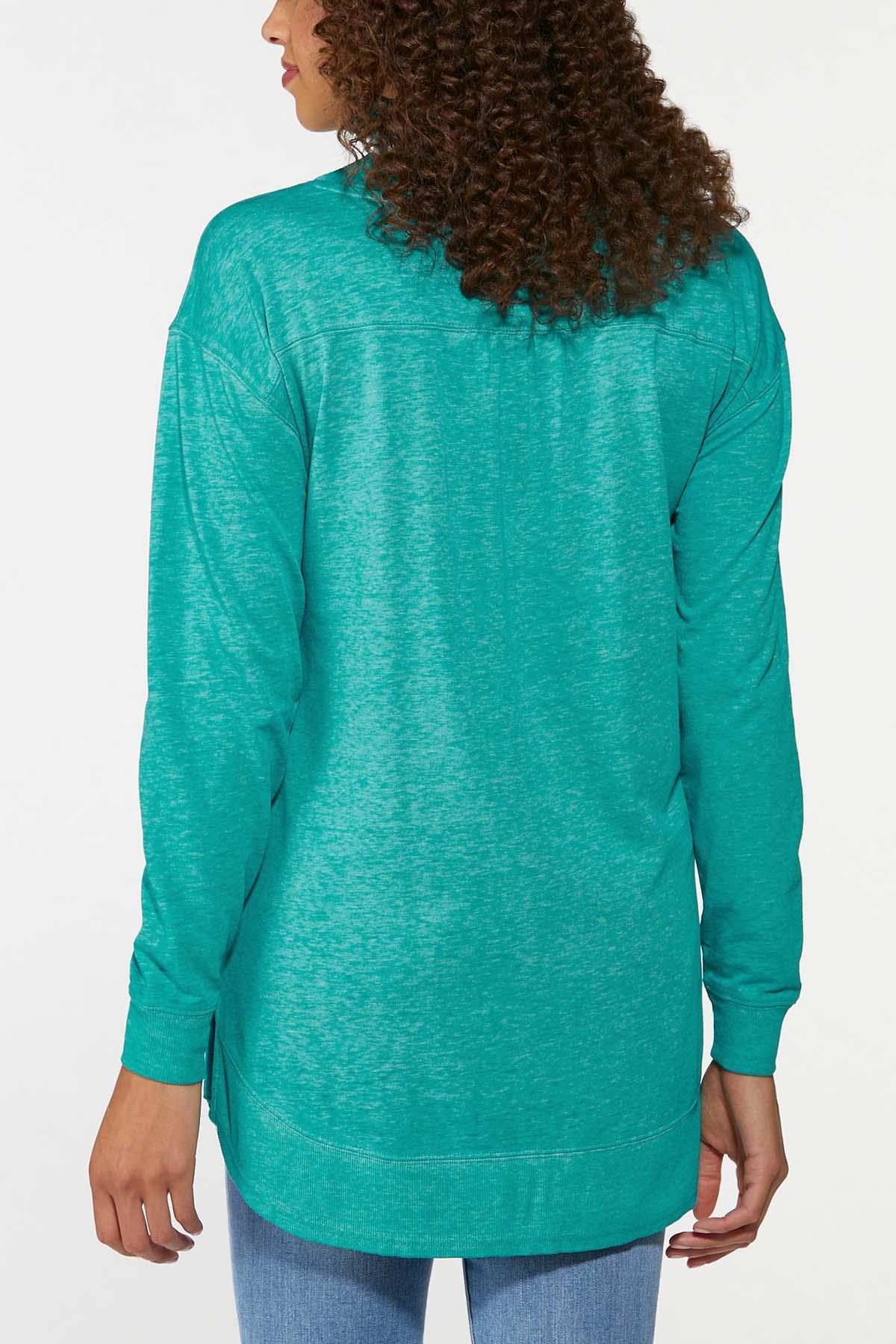 Plus Size Teal Sweatshirt Tunic (Item #44702626)