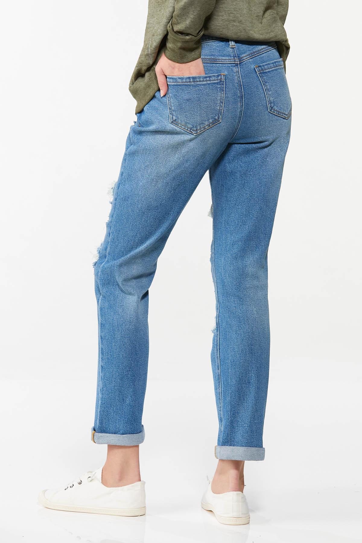Camo Rip Repair Boyfriend Jeans (Item #44702762)