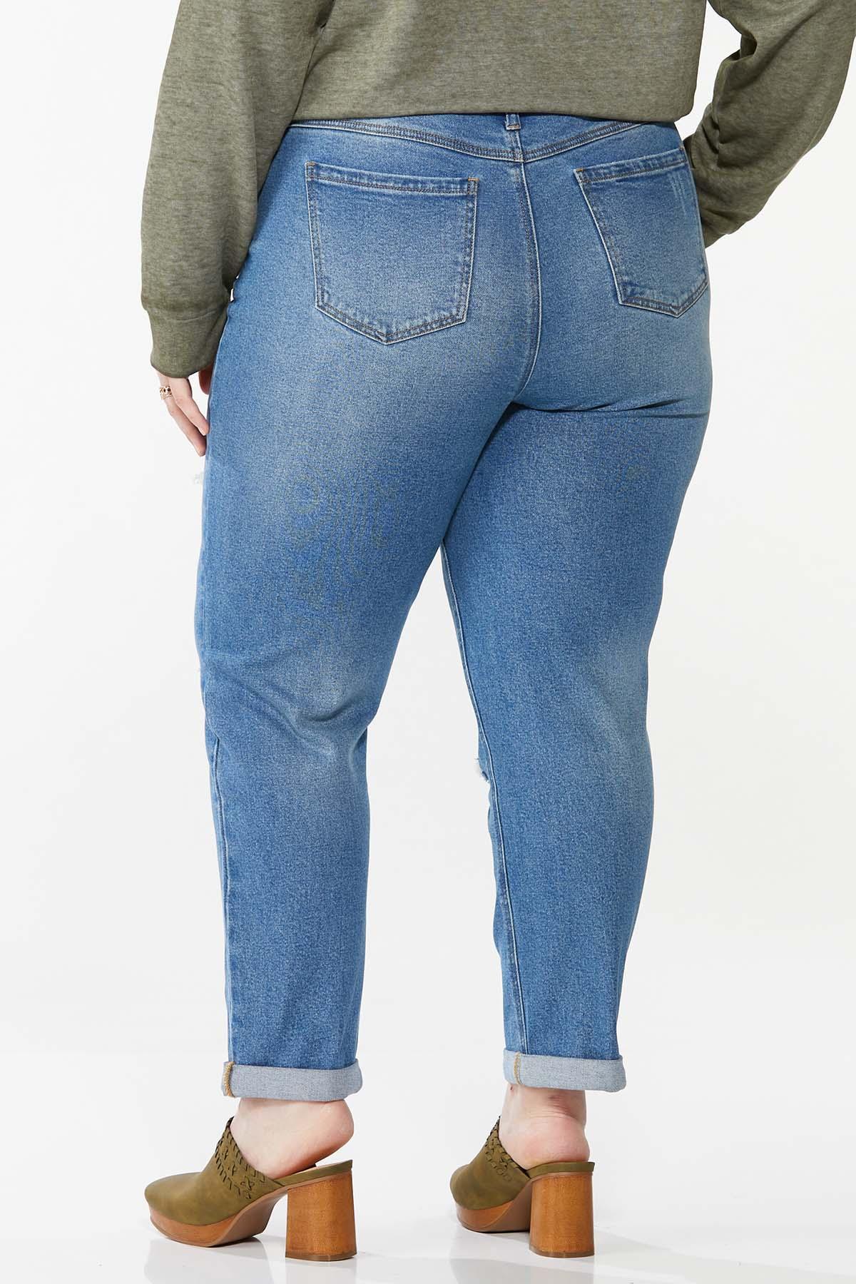 Plus Size Camo Rip Repair Boyfriend Jeans (Item #44702797)
