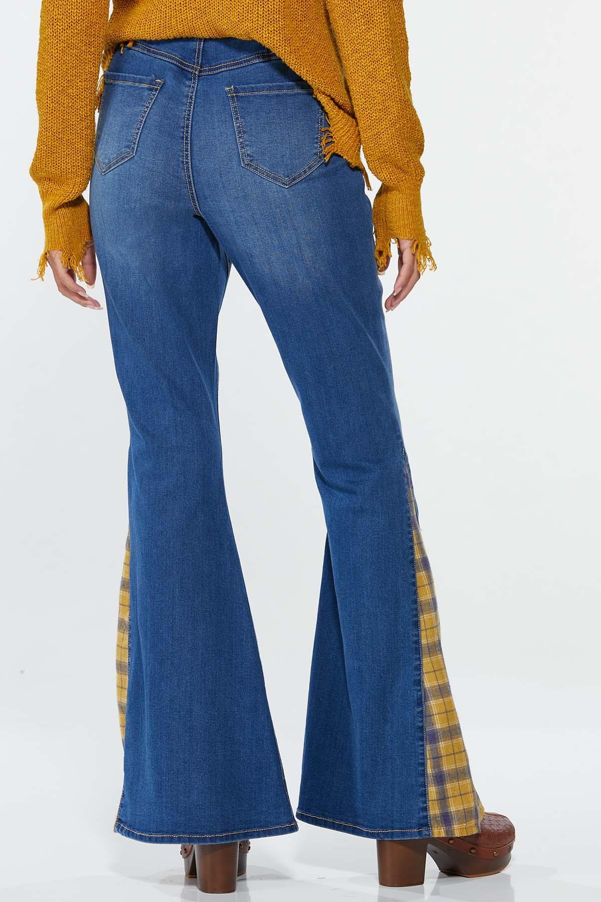 Petite Plaid Inset Flare Jeans (Item #44702833)