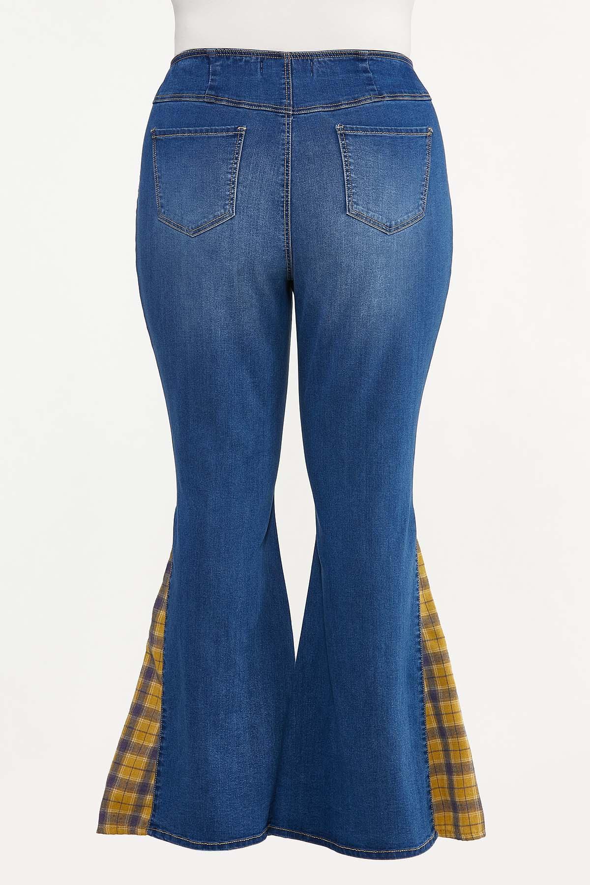 Plus Size Plaid Inset Flare Jeans (Item #44702851)