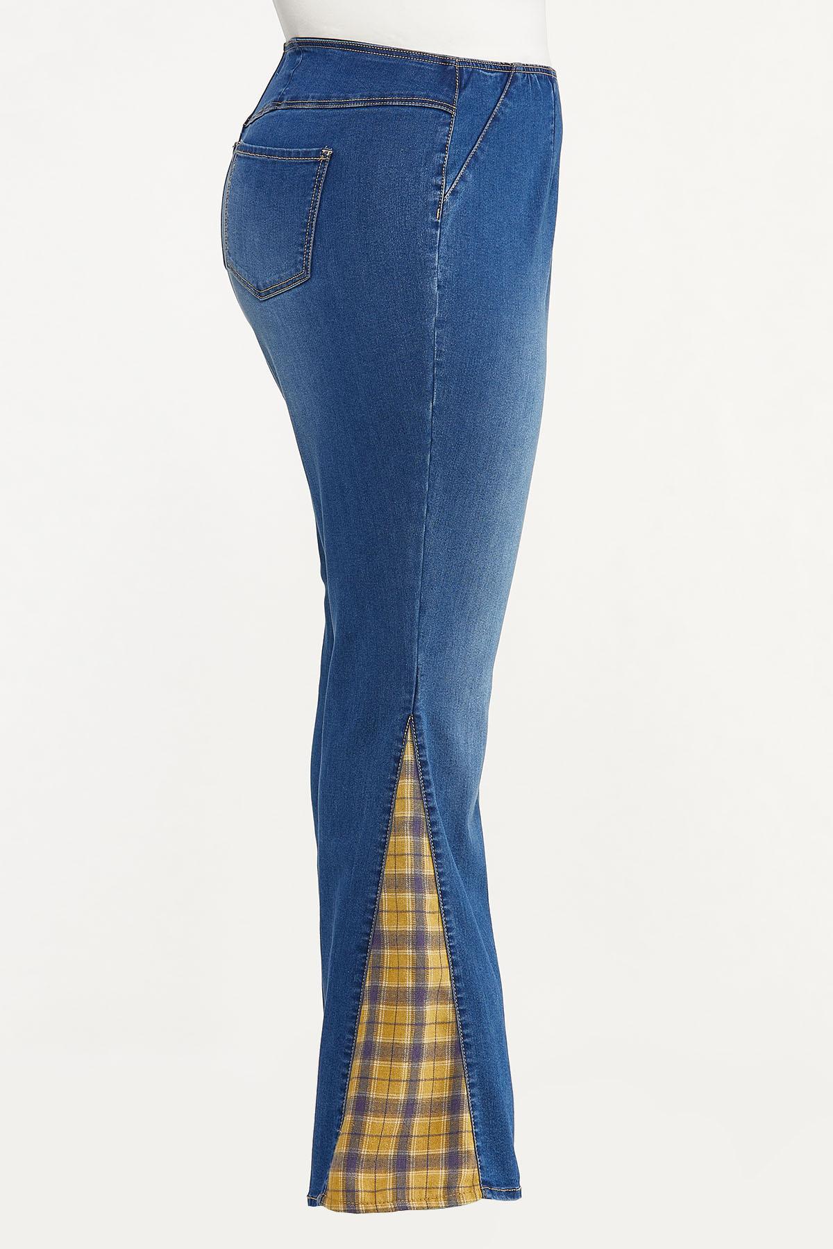 Plus Petite Plaid Inset Flare Jeans (Item #44702870)