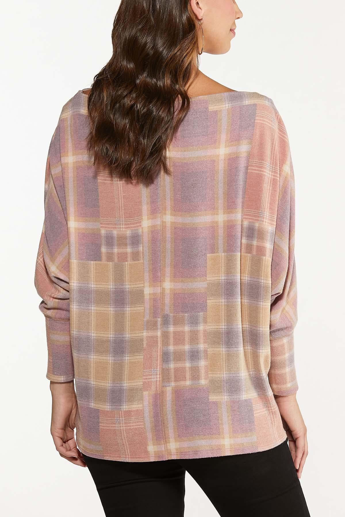 Plus Size Slouch Pink Plaid Top (Item #44702891)