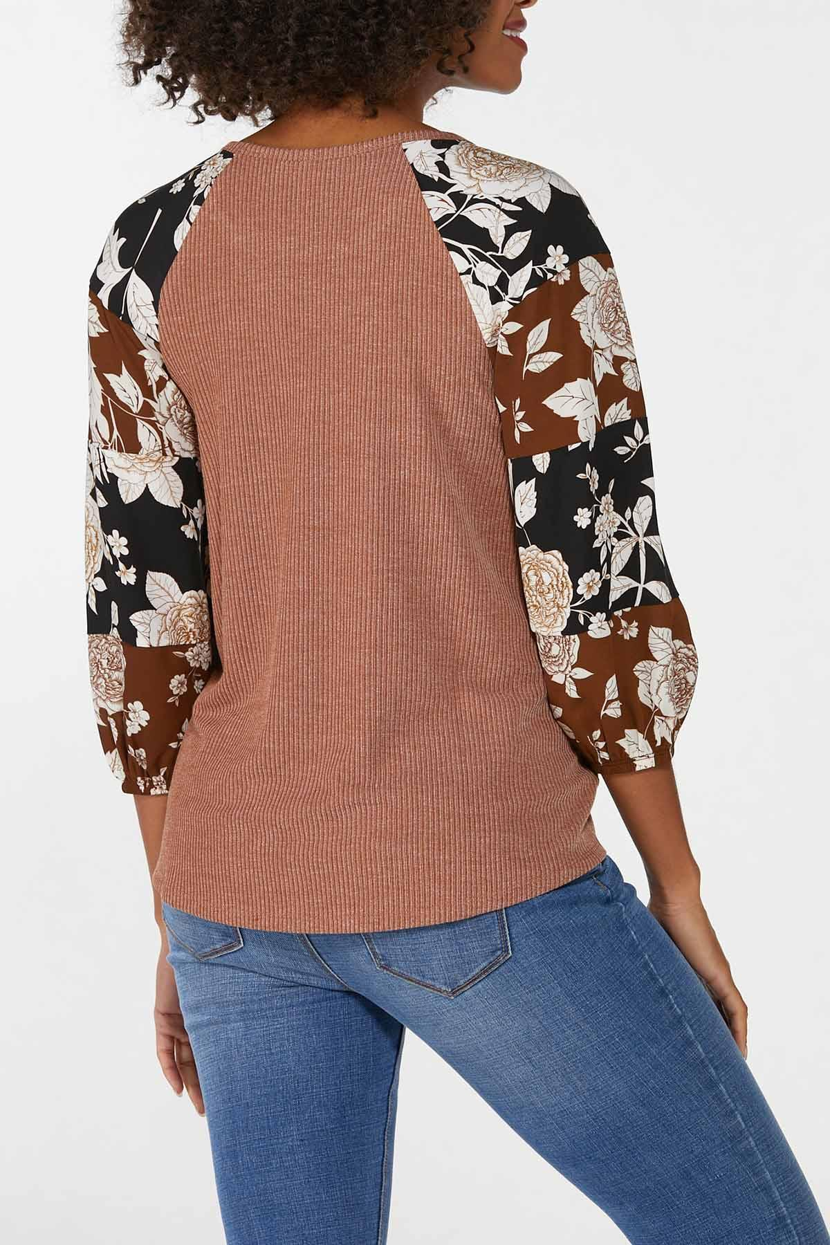 Plus Size Ribbed Mixed Floral Sleeve Top (Item #44703123)