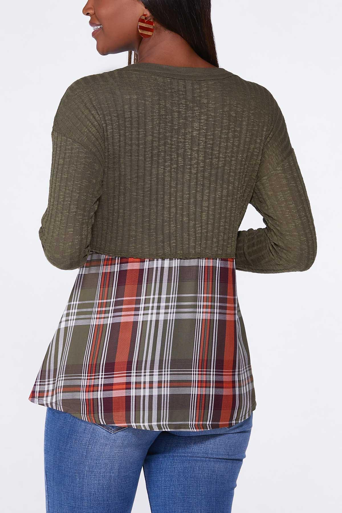 Plaid Ribbed Henley Top (Item #44703249)