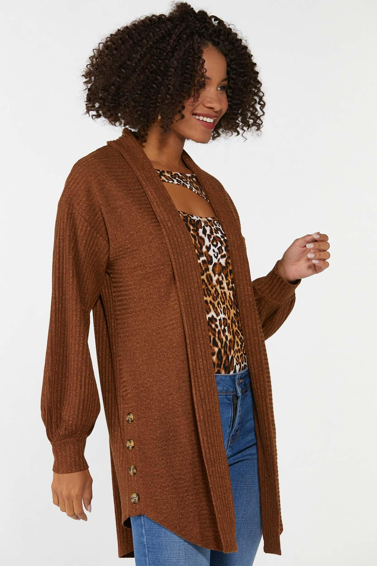 Plus Size Ribbed Duster Sweater (Item #44703409)