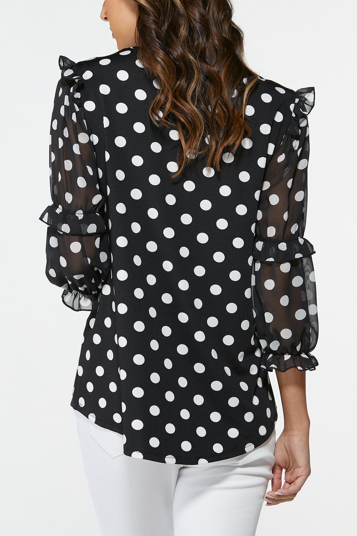 Plus Size Polka Dot Sheer Sleeve Top (Item #44703445)
