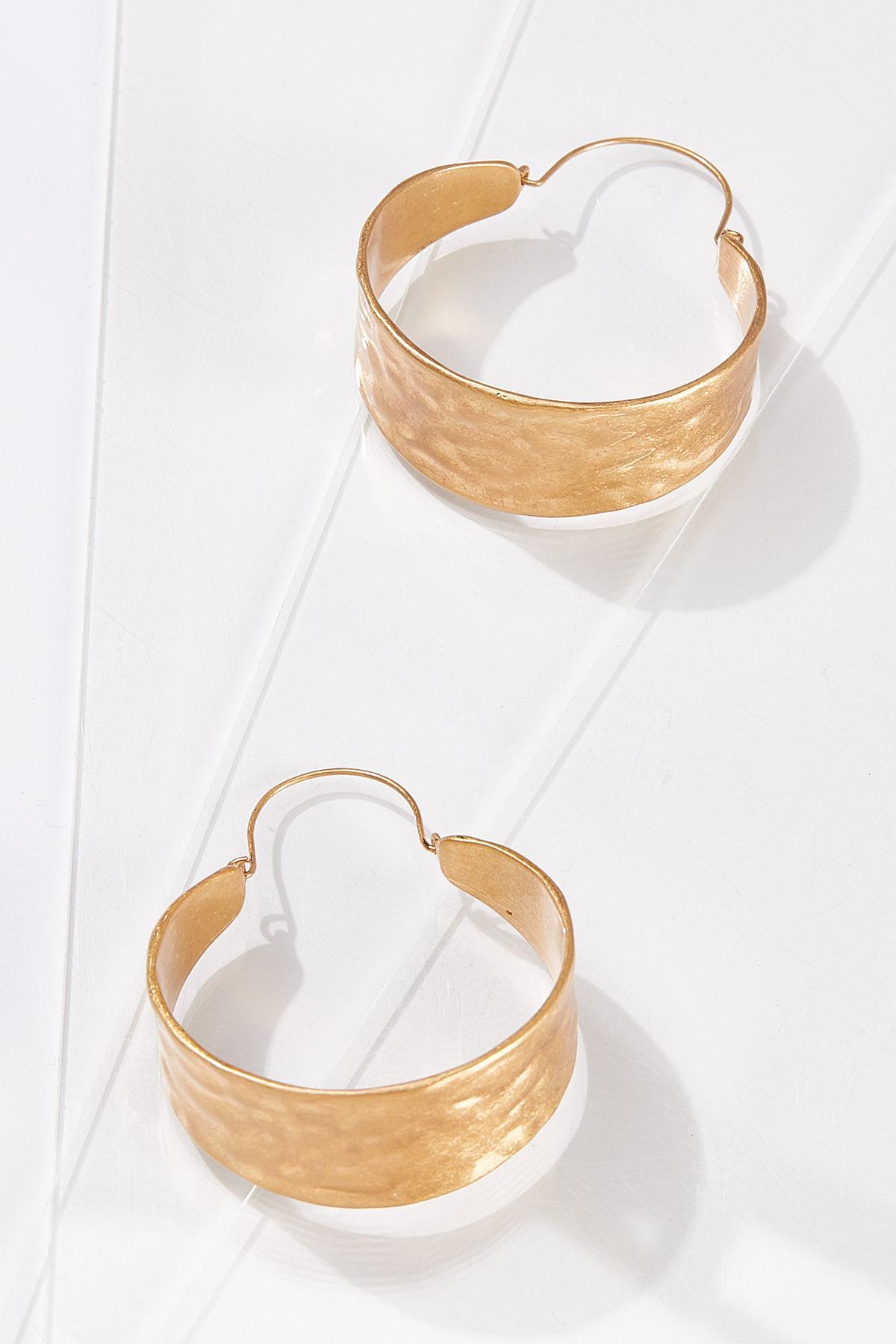 Gold Hammered Hoop Earrings (Item #44703893)