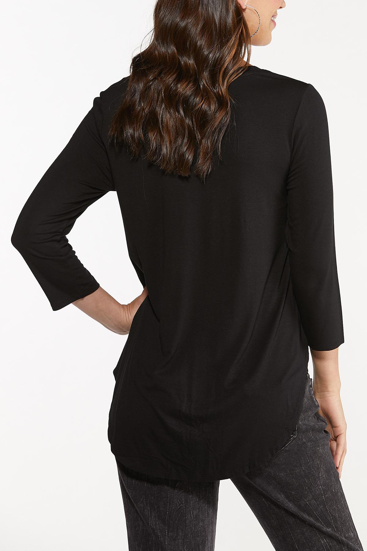 Plus Size Solid V-Neck Top (Item #44703910)