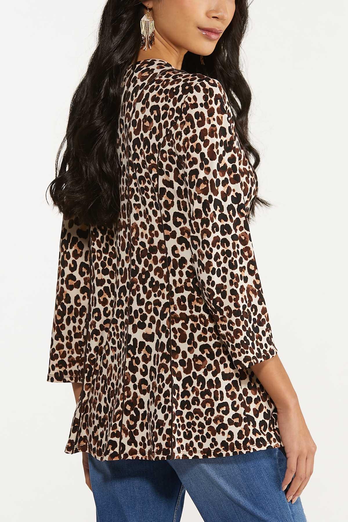 Plus Size Seamed Leopard Top (Item #44704194)