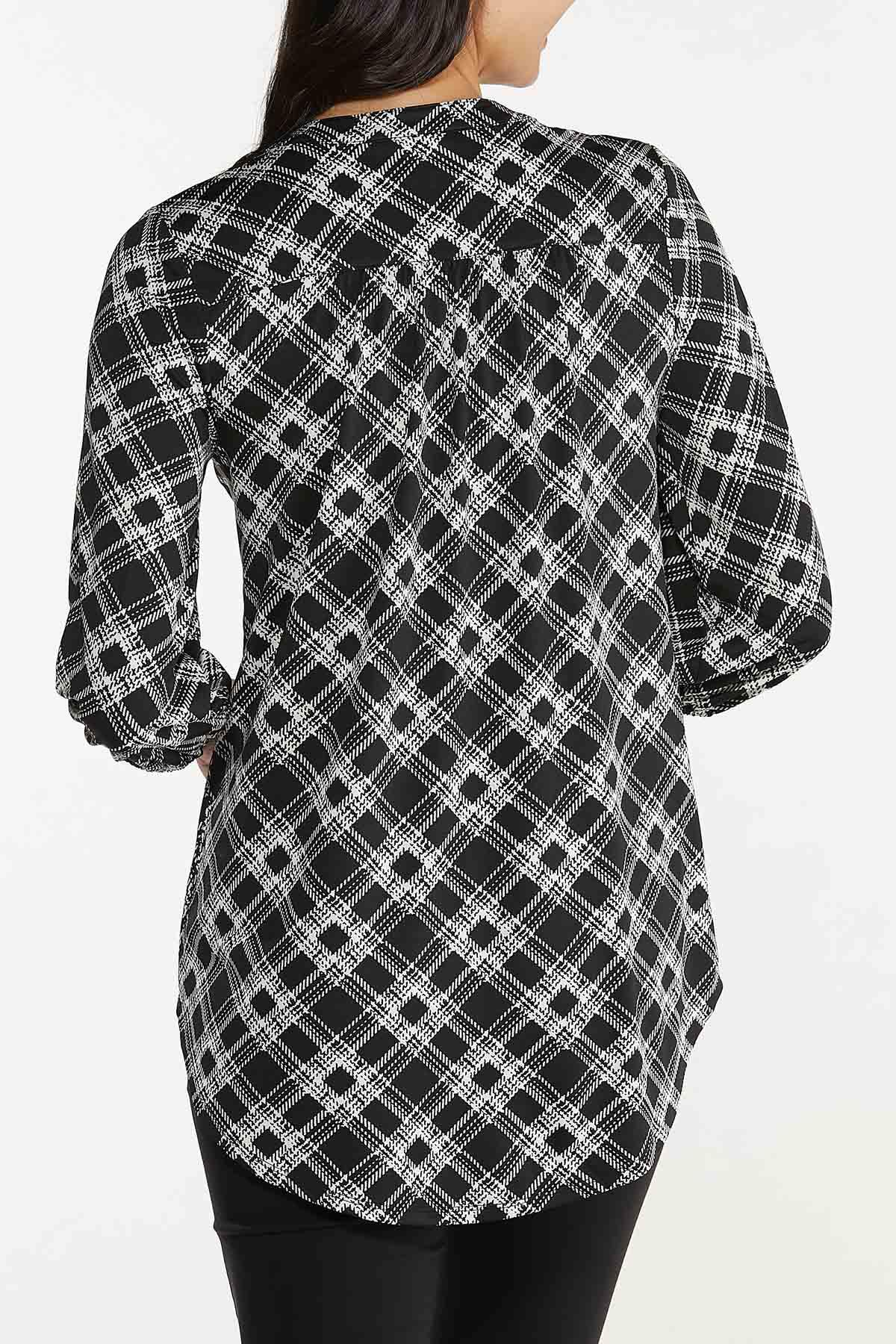 Plus Size Lace Up Checkered Tunic (Item #44704266)