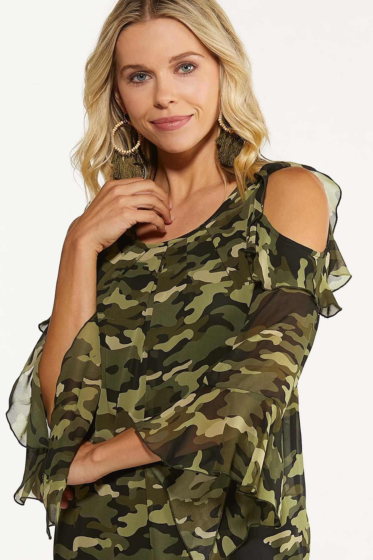 Plus Size Ruffled Camo Cold Shoulder Top (Item #44704576)