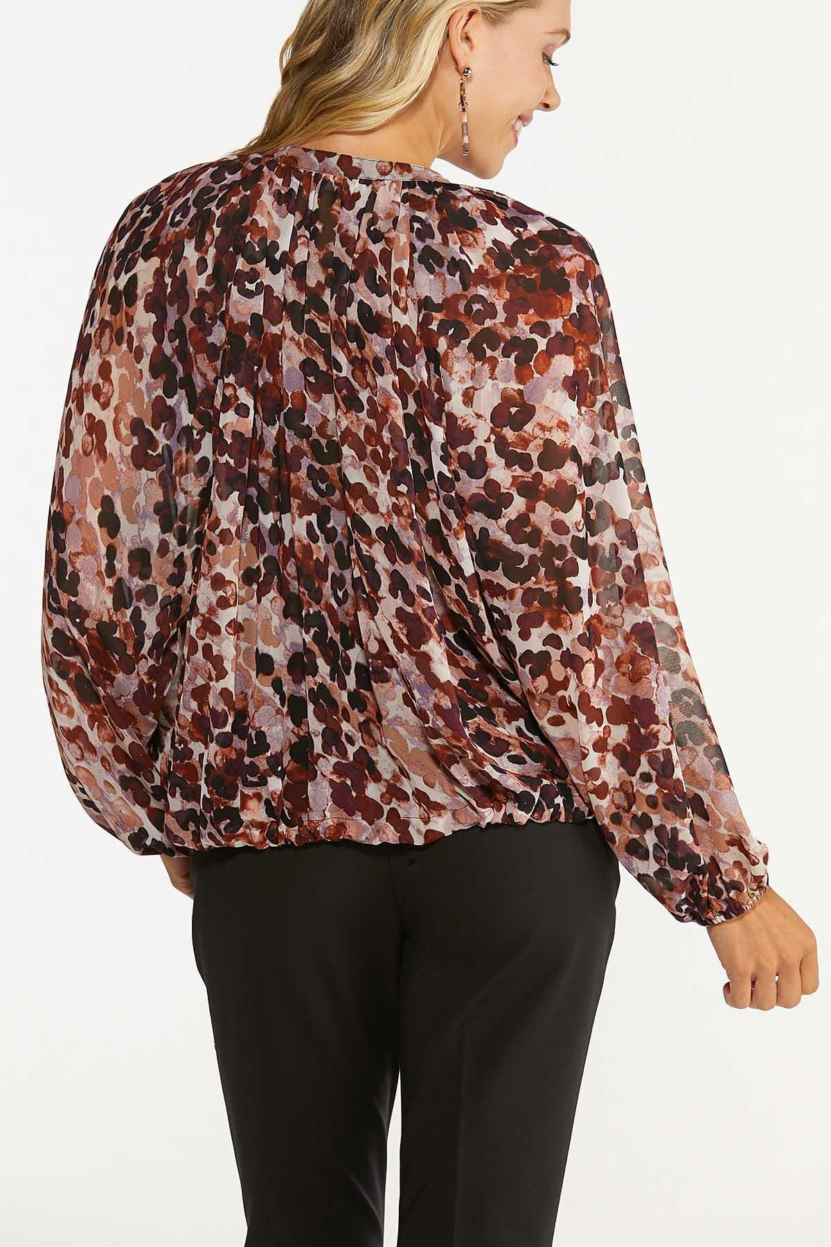 Plus Size Sheer Floral Bubble Hem Top (Item #44704615)