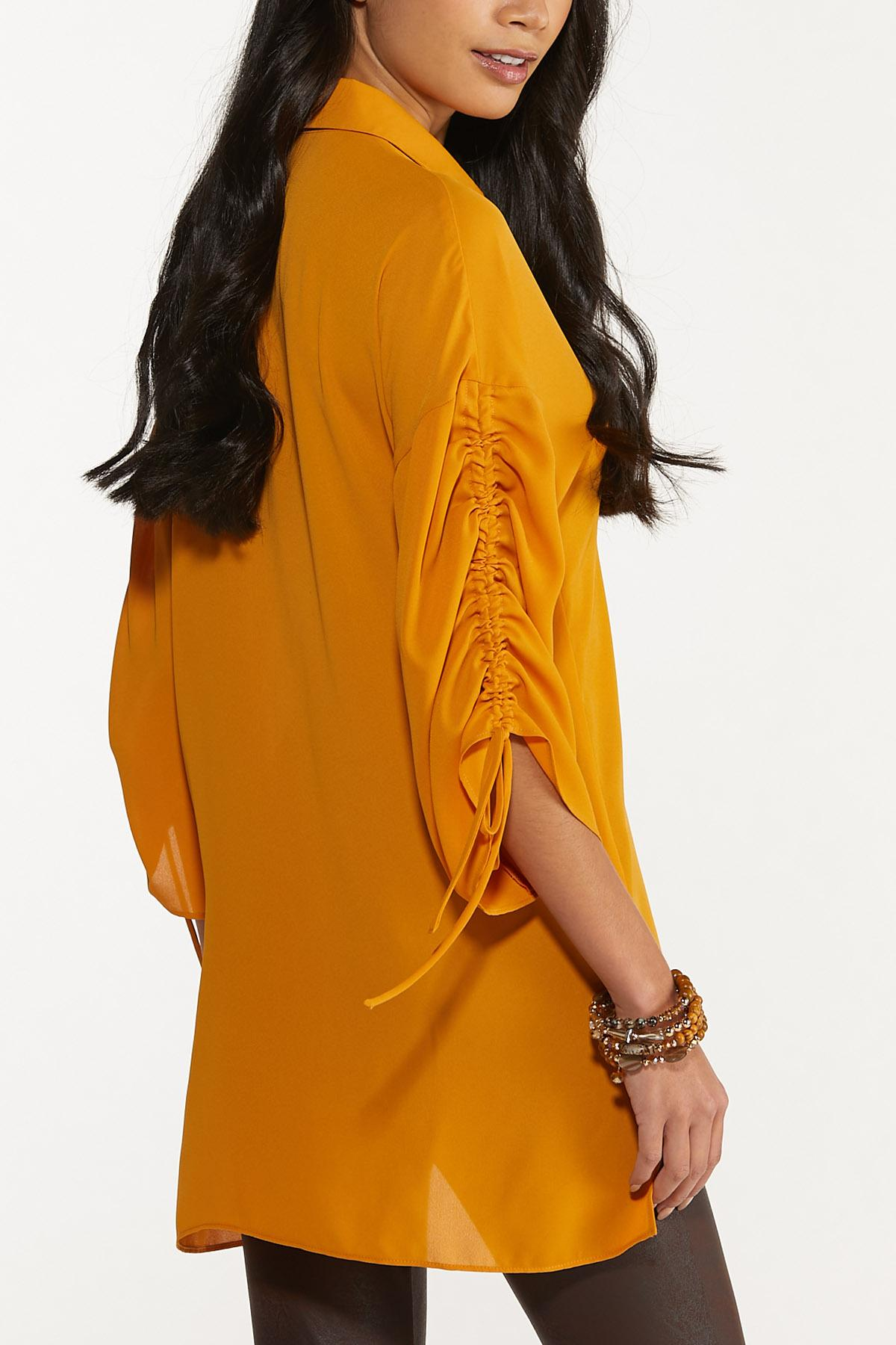 Plus Size Gold Ruched Sleeve Tunic (Item #44704688)