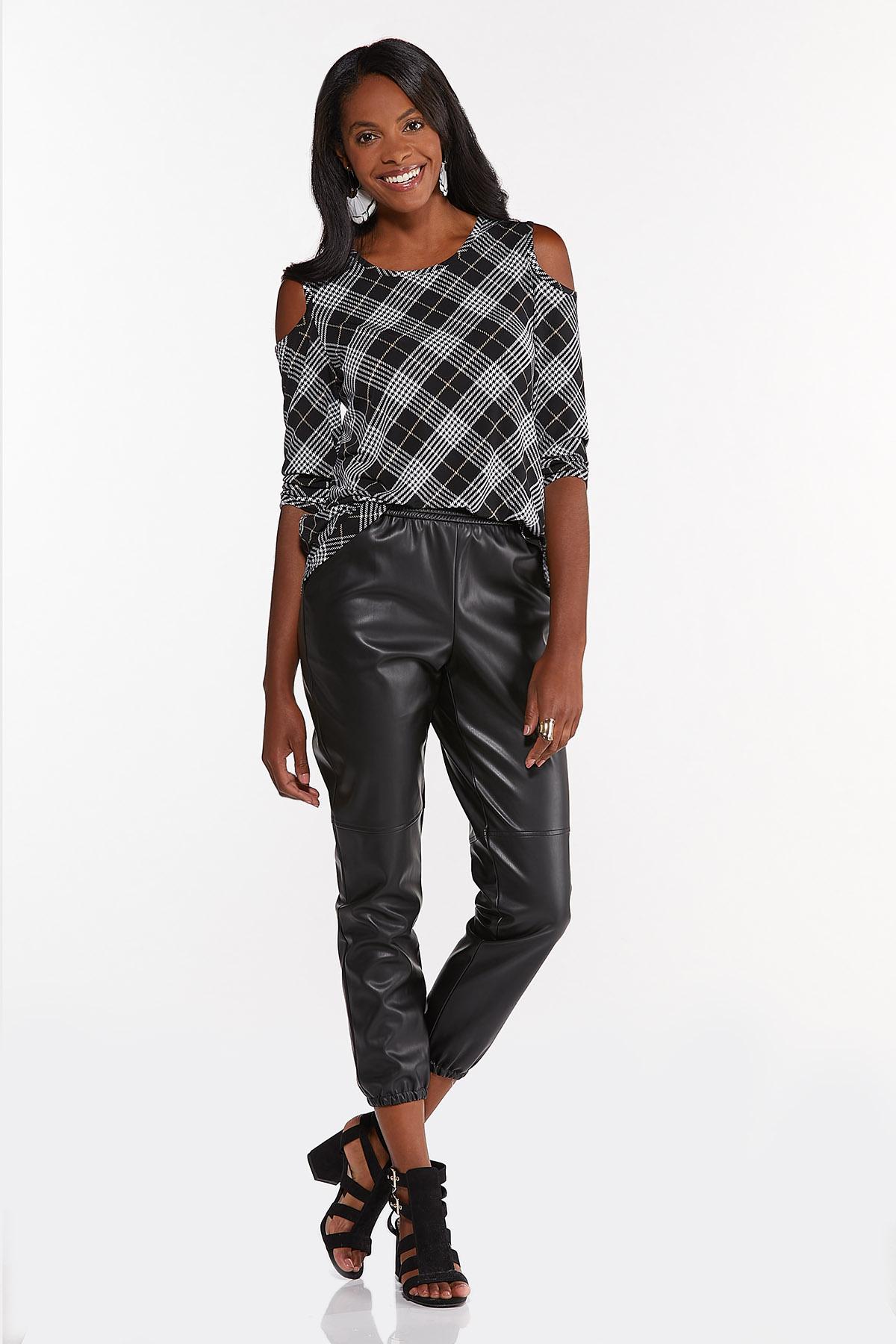 Plus Size Black Plaid Cold Shoulder Top (Item #44705400)