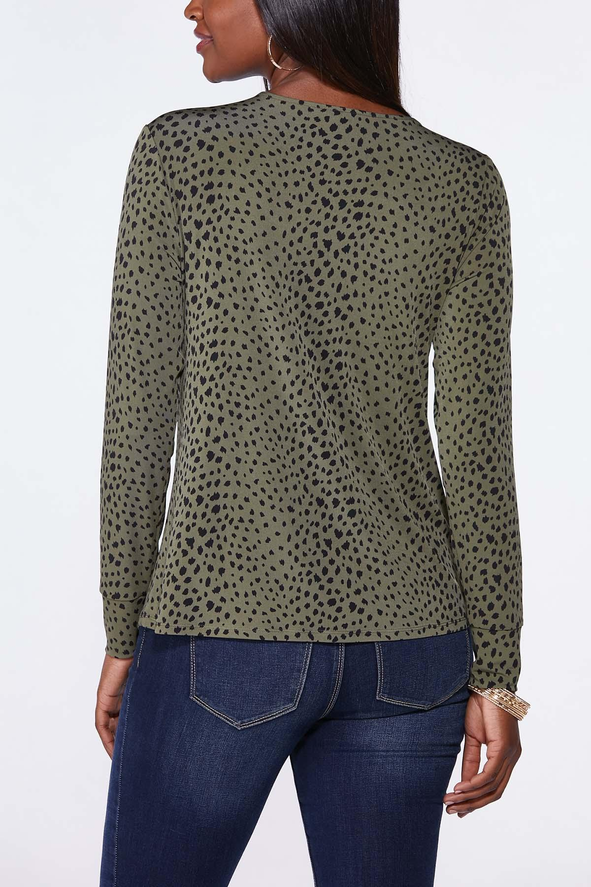 Plus Size Cutout Spotted Olive Top (Item #44705427)