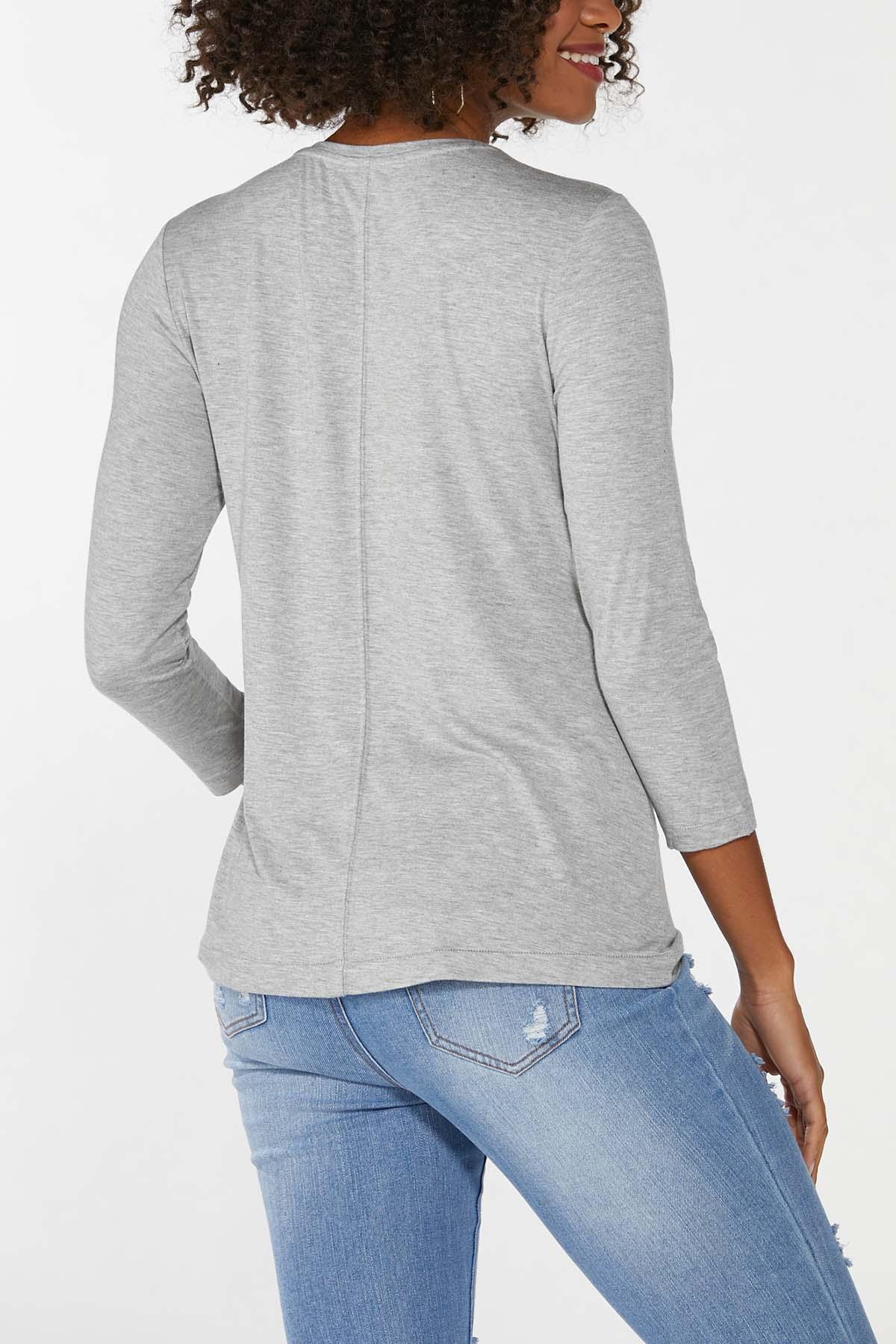Plus Size Gray Scoop Neck Top (Item #44706357)
