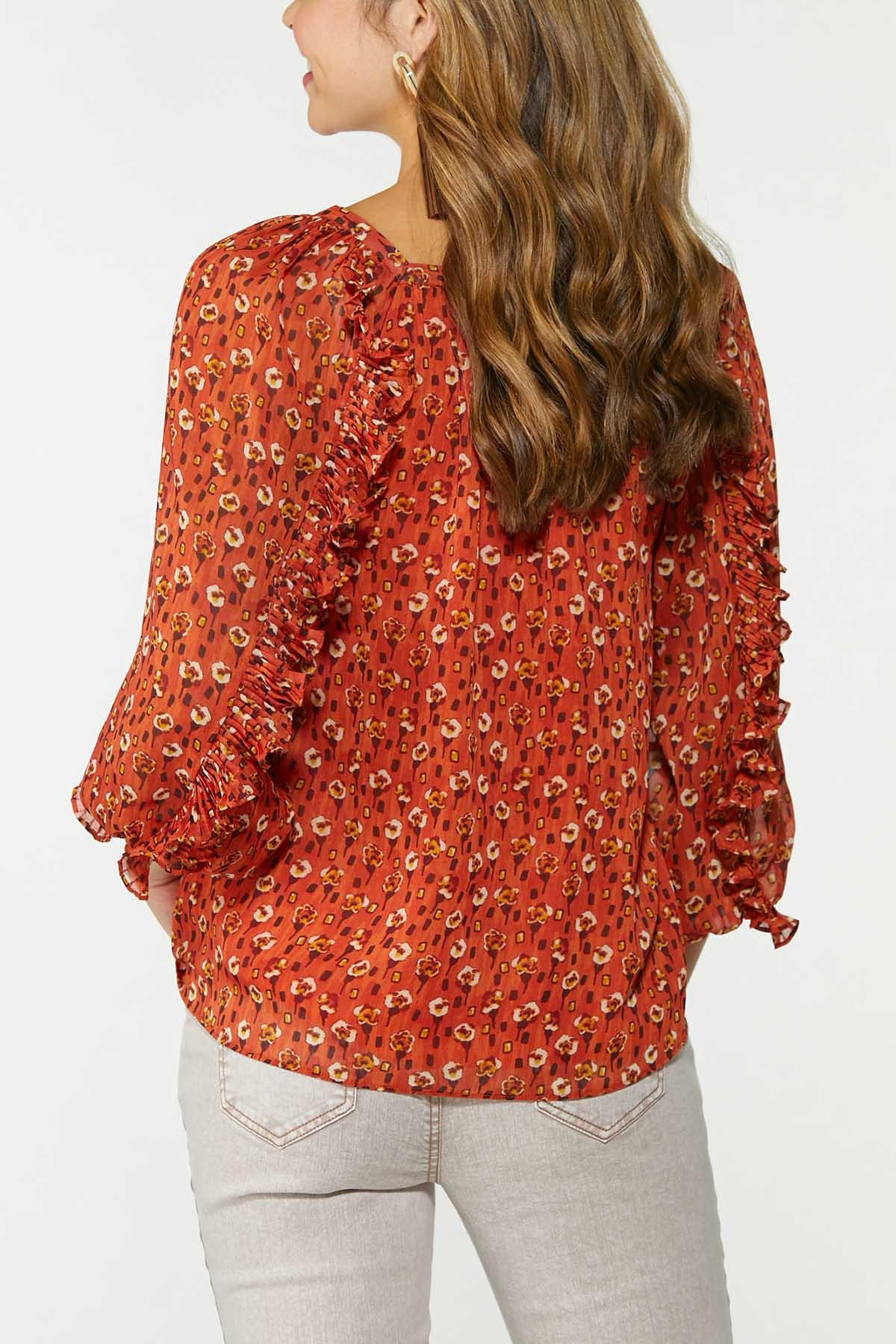 Plus Size Ruffled Floral Top (Item #44706358)